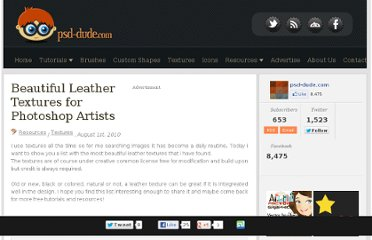 http://www.psd-dude.com/tutorials/resources/beautiful-leather-textures-for-photoshop-artists.aspx