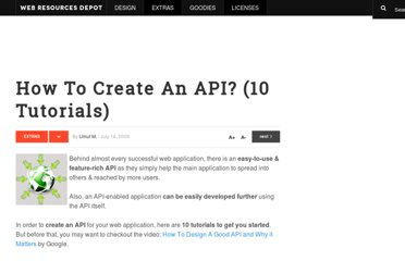 http://www.webresourcesdepot.com/how-to-create-an-api-10-tutorials/