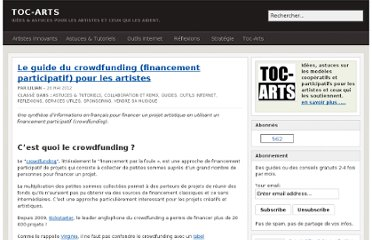 http://toc-arts.org/blog/2012/05/26/guide-crowdfunding-financement-participatif-artistes/