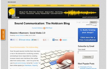 http://soundcommunication.holdcom.com/bid/54386/Massive-Influencers-Social-Media-3-0