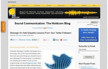 http://soundcommunication.holdcom.com/bid/81034/Message-On-Hold-Etiquette-Lessons-From-Your-Twitter-Followers