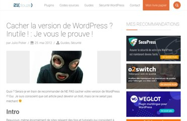 http://www.boiteaweb.fr/cacher-sa-version-de-wordpress-est-inutile-3415.html#