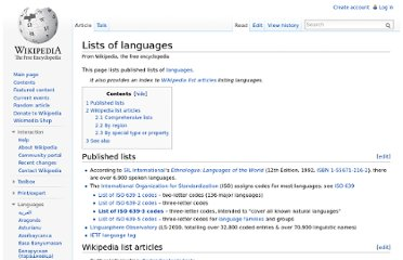 http://en.wikipedia.org/wiki/Lists_of_languages