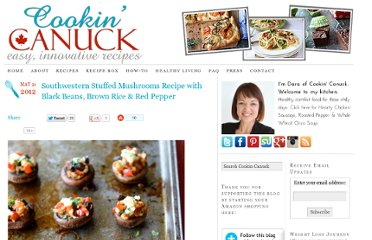 http://www.cookincanuck.com/2012/05/southwestern-stuffed-mushrooms-recipe-with-black-beans-brown-rice-red-pepper/