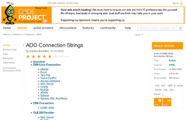 http://www.codeproject.com/Articles/2304/ADO-Connection-Strings#ODBC%20DSN