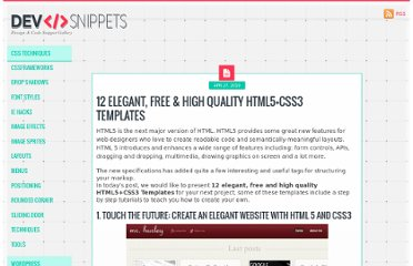 http://devsnippets.com/article/12-free-high-quality-html5css3-templates.html