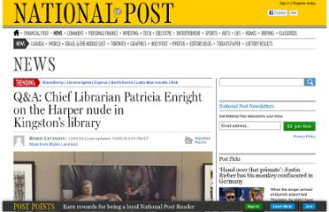 http://news.nationalpost.com/2012/05/18/qa-chief-librarian-patricia-enright-on-the-harper-nude-in-kingstons-library/