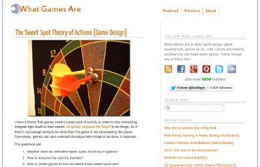 http://www.whatgamesare.com/2011/02/the-sweet-spot-theory-of-actions-game-design.html