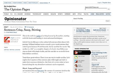 http://opinionator.blogs.nytimes.com/2012/05/28/sentences-crisp-sassy-stirring/