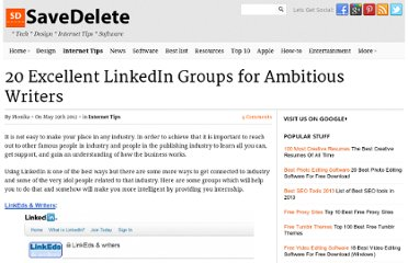 http://savedelete.com/20-excellent-linkedin-groups-for-ambitious-writers.html