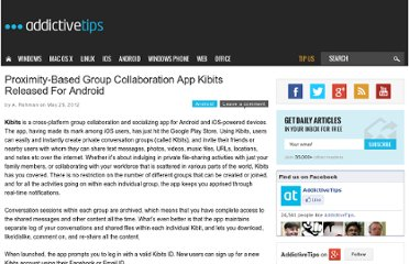 http://www.addictivetips.com/android/proximity-based-group-collaboration-app-kibits-released-for-android/