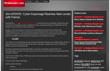 http://labs.bitdefender.com/2012/05/cyber-espionage-reaches-new-levels-with-flamer/