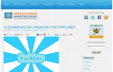 http://sem-group.net/search-engine-optimization-blog/10-examples-of-creative-twitter-uses/