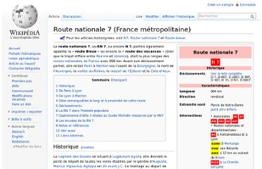 http://fr.wikipedia.org/wiki/Route_nationale_7_(France_m%C3%A9tropolitaine)