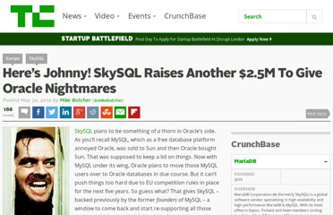 http://techcrunch.com/2012/05/30/heres-johnny-skysql-raises-another-2-5m-to-give-oracle-nightmares/