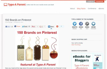 http://typeaparent.com/150-brands-on-pinterest.html