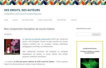http://desdroitsdesauteurs.fr/2012/05/lexception-de-courte-citation/