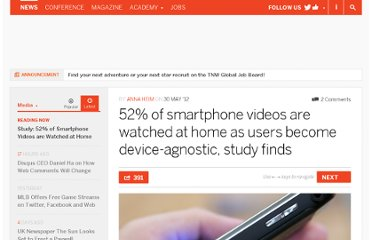 http://thenextweb.com/media/2012/05/30/52-of-smartphone-videos-are-watched-at-home-as-users-become-device-agnostic-study-finds/