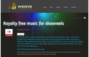 http://www.weave-creative.co.uk/general/royalty-free-music-for-showreels/