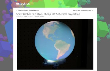 http://eclecti.cc/computergraphics/snow-globe-part-one-cheap-diy-spherical-projection