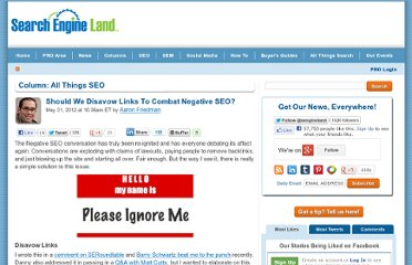 http://searchengineland.com/should-we-disavow-links-to-combat-negative-seo-123008