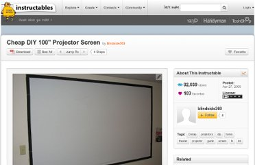http://www.instructables.com/id/Cheap-DIY-100quot-Projector-Screen/#step1