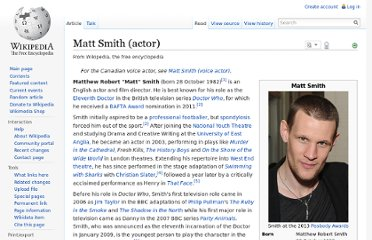 http://en.wikipedia.org/wiki/Matt_Smith_%28actor%29