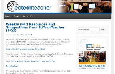 http://edtechteacher.org/blog/2012/05/weekly-ipad-resources-and-suggestions-from-edtechteacher-521/