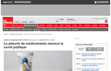 http://www.lapresse.ca/international/etats-unis/201109/04/01-4431571-la-penurie-de-medicaments-menace-la-sante-publique.php