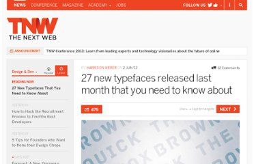 http://thenextweb.com/dd/2012/06/02/27-new-typefaces-released-last-month-that-you-need-to-know-about/