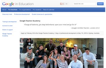 http://www.google.com/edu/teachers/google-teacher-academy.html