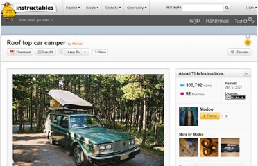 http://www.instructables.com/id/Roof-top-car-camper/