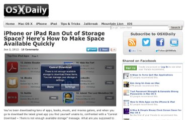 http://osxdaily.com/2012/06/02/iphone-ipad-ran-out-of-available-storage-space-how-to-fix-quick/