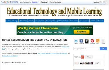 http://www.educatorstechnology.com/2012/06/8-free-resources-on-use-of-ipad-in.html