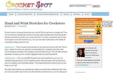 http://www.crochetspot.com/hand-and-wrist-stretches-for-crocheters/
