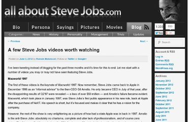 http://allaboutstevejobs.com/blog/2012/06/03/a-few-steve-jobs-videos-worth-watching/