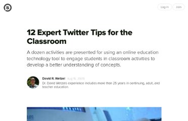 http://suite101.com/article/12-expert-twitter-tips-for-the-classroom-a139534