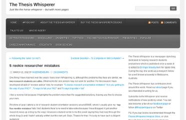http://thesiswhisperer.com/2012/03/22/5-rookie-researcher-mistakes/