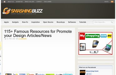 http://www.smashingbuzz.com/2010/03/115-famous-resources-for-promote-your-design-articlesnews/