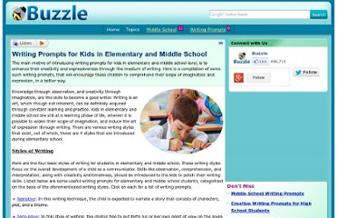 http://www.buzzle.com/articles/writing-prompts-for-kids-in-elementary-and-middle-school.html