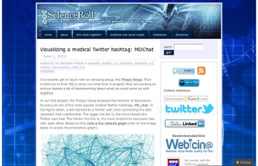 http://scienceroll.com/2012/06/01/visualizing-a-medical-twitter-hashtag-md_chat/