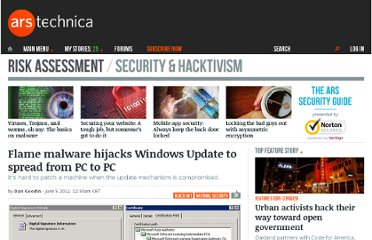 http://arstechnica.com/security/2012/06/flame-malware-hijacks-windows-update-to-propogate/