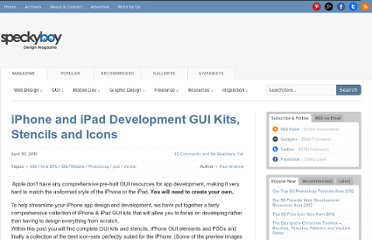 http://speckyboy.com/2010/04/30/iphone-and-ipad-development-gui-kits-stencils-and-icons/