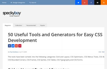 http://speckyboy.com/2009/07/15/50-useful-tools-and-generators-for-easy-css-development/