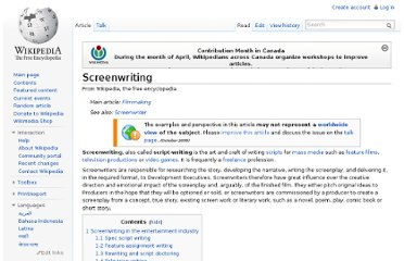 http://en.wikipedia.org/wiki/Screenwriting