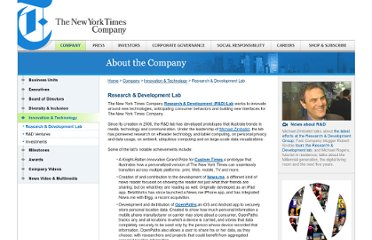 http://www.nytco.com/company/Innovation_and_Technology/ResearchandDevelopment.html