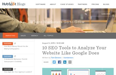 http://blog.hubspot.com/blog/tabid/6307/bid/33164/6-SEO-Tools-to-Analyze-Your-Site-Like-Google-Does.aspx