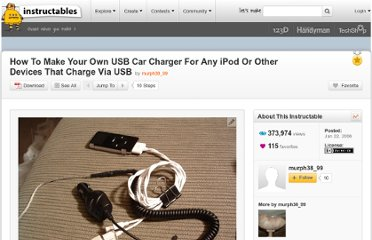 http://www.instructables.com/id/How-To-Make-Your-Own-USB-Car-Charger-For-Any-iPod-/