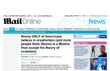 http://www.dailymail.co.uk/news/article-2154923/Half-Americans-believe-creationism-just-15-percent-accept-evolution.html