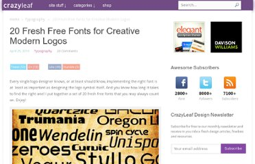 http://www.crazyleafdesign.com/blog/20-fresh-free-fonts-for-creative-modern-logos/